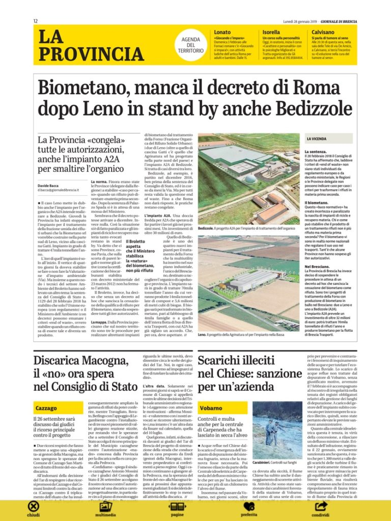 Giornale di Brescia del 28 gennaio 2019