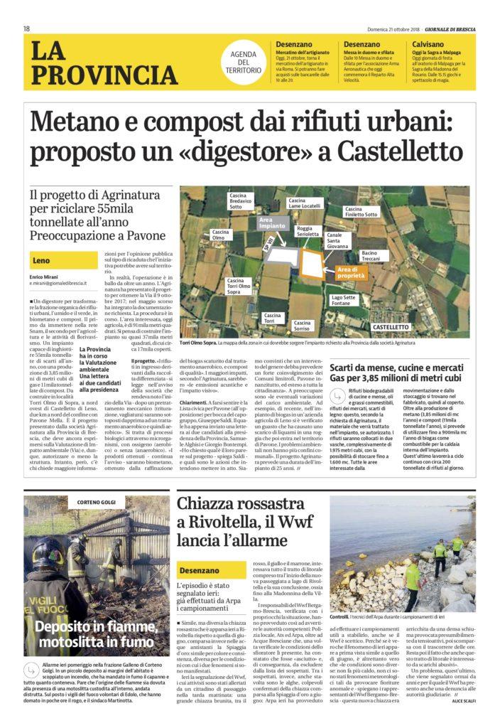 Giornale di Brescia 21 ottobre 2018