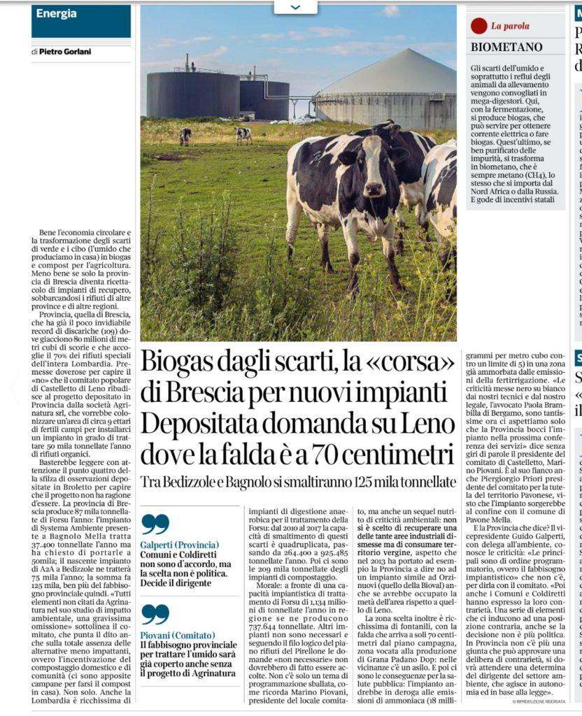 Corriere della Sera Brescia 30 agosto 2020
